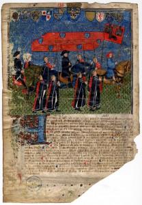 Livre I des annales (1295-1532). L'entrée du roi Charles VII à Toulouse (1441-1442). Ville de Toulouse, Archives municipales, BB 273 feuillet 9 verso. CC BY-SA 2.0